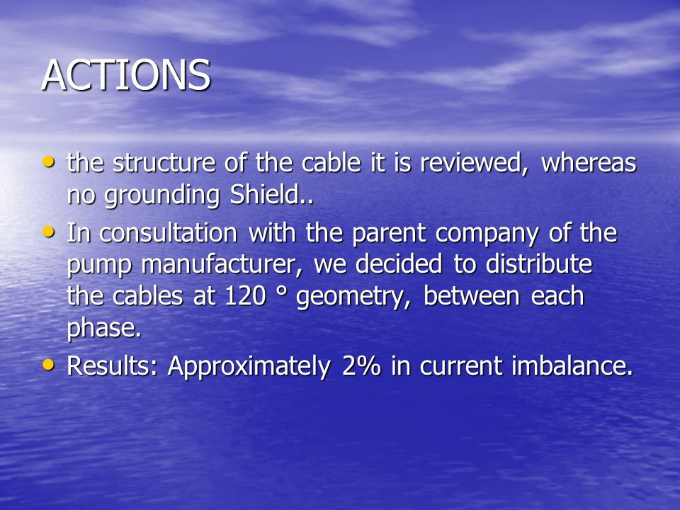 ACTIONS the structure of the cable it is reviewed, whereas no grounding Shield..