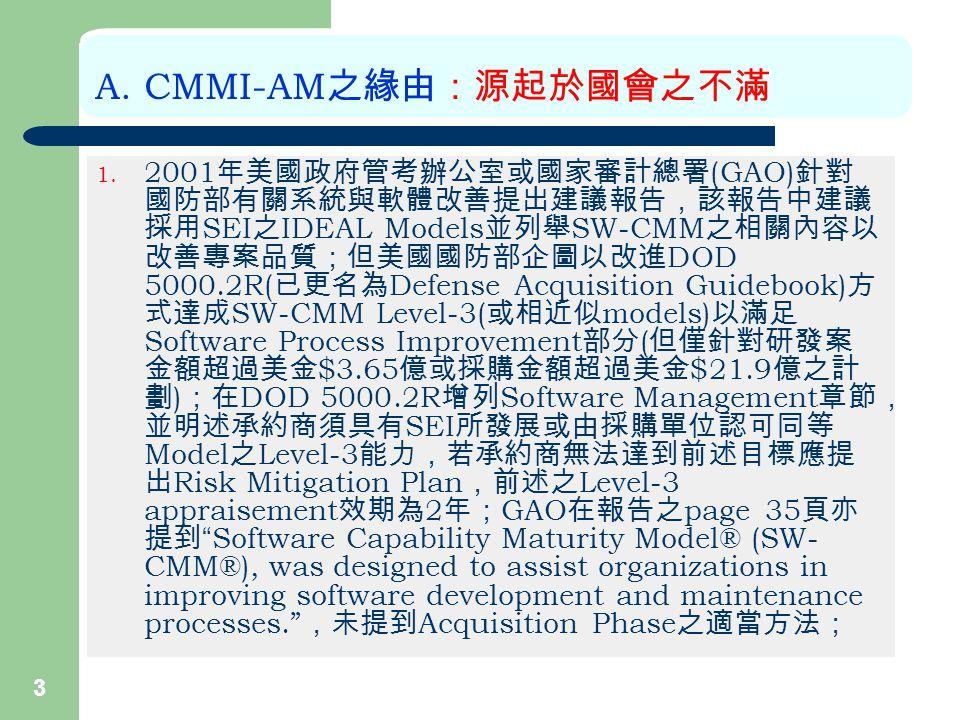 3 A. CMMI-AM 之緣由:源起於國會之不滿 1.