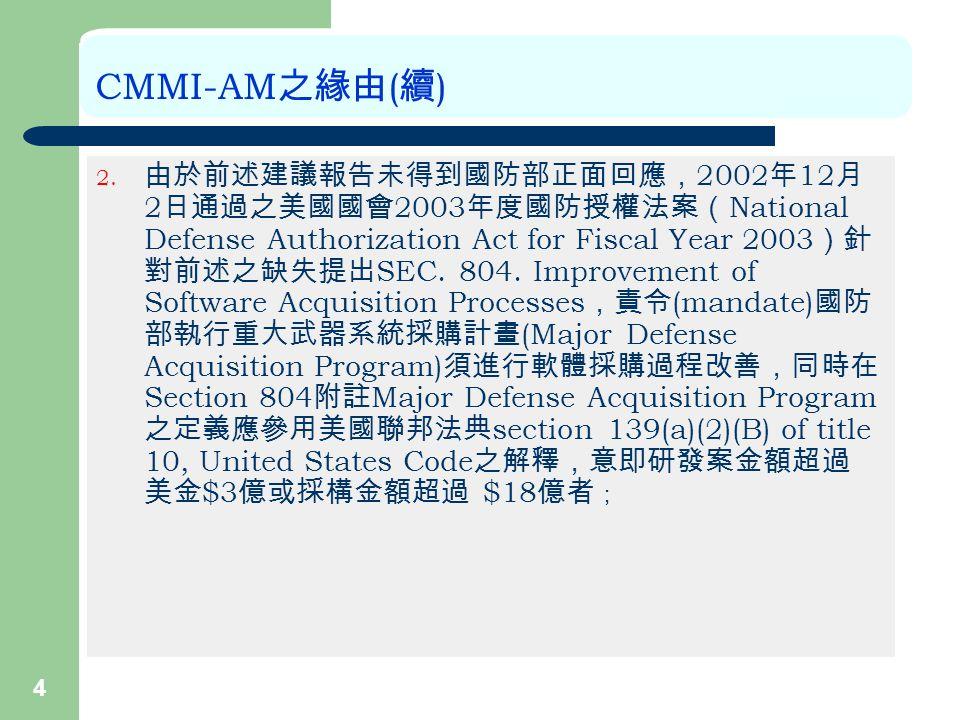 4 CMMI-AM 之緣由 ( 續 ) 2.