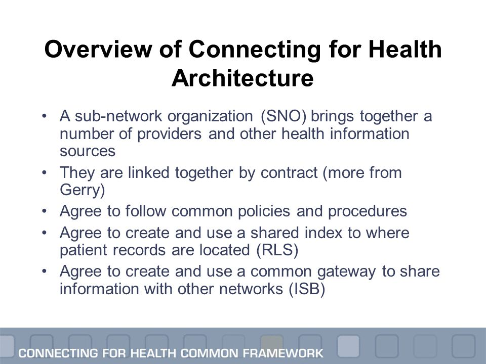 Overview of Connecting for Health Architecture A sub-network organization (SNO) brings together a number of providers and other health information sou