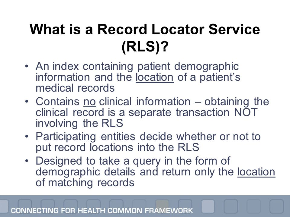 An index containing patient demographic information and the location of a patient's medical records Contains no clinical information – obtaining the c