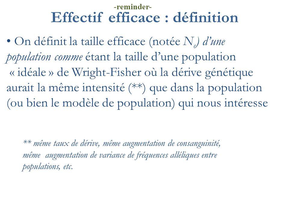 Effectif efficace : définition On définit la taille efficace (notée N e ) d'une population comme étant la taille d'une population « idéale » de Wright