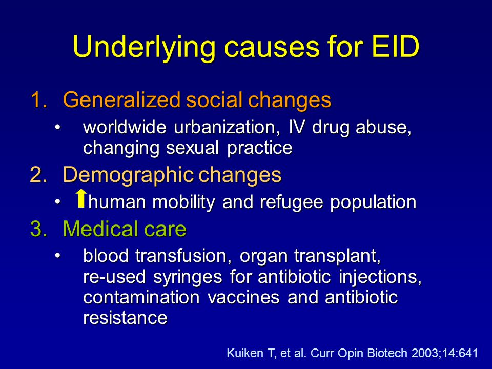 Underlying causes for EID 1.Generalized social changes worldwide urbanization, IV drug abuse, changing sexual practiceworldwide urbanization, IV drug