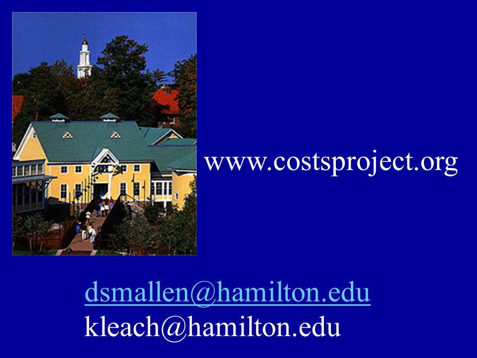 www.costsproject.org dsmallen@hamilton.edu kleach@hamilton.edu