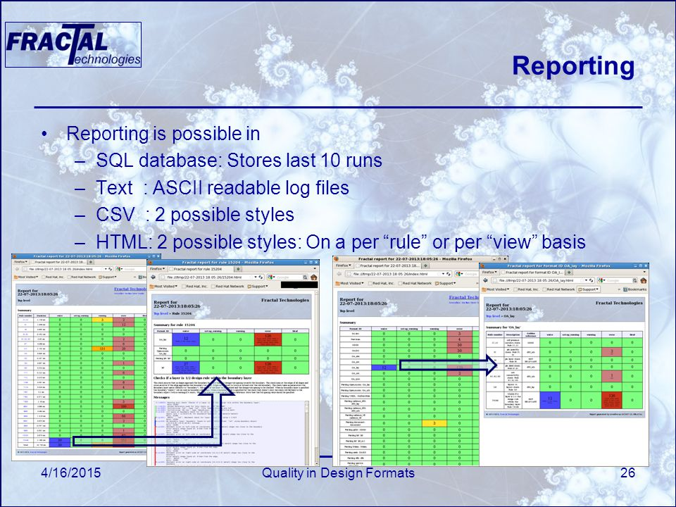 4/16/2015Quality in Design Formats26 Reporting Reporting is possible in –SQL database: Stores last 10 runs –Text : ASCII readable log files –CSV : 2 possible styles –HTML: 2 possible styles: On a per rule or per view basis