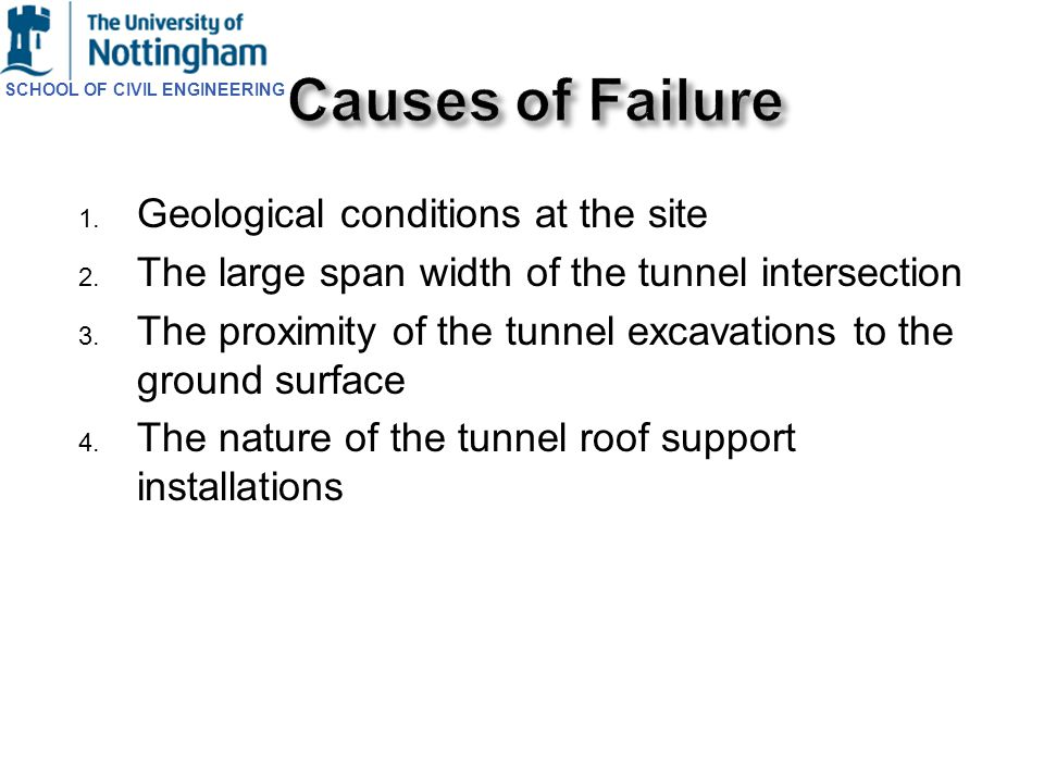 SCHOOL OF CIVIL ENGINEERING 1. Geological conditions at the site 2. The large span width of the tunnel intersection 3. The proximity of the tunnel exc
