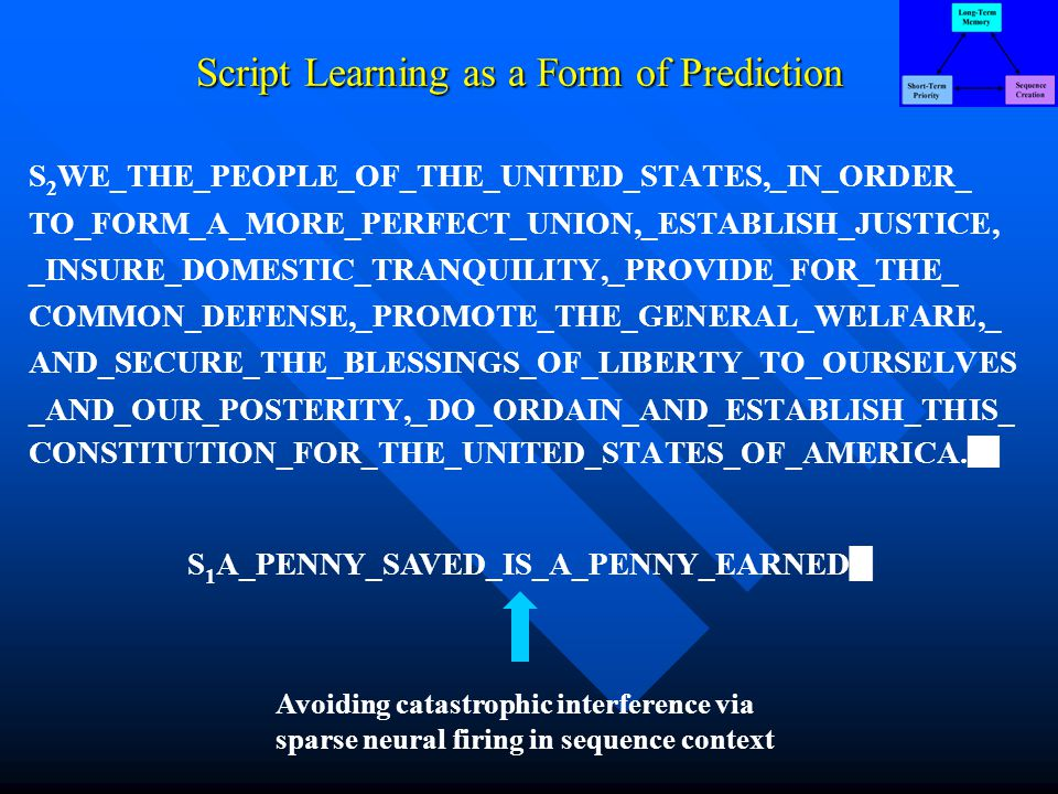 Script Learning as a Form of Prediction S 2 WE_THE_PEOPLE_OF_THE_UNITED_STATES,_IN_ORDER_ TO_FORM_A_MORE_PERFECT_UNION,_ESTABLISH_JUSTICE, _INSURE_DOMESTIC_TRANQUILITY,_PROVIDE_FOR_THE_ COMMON_DEFENSE,_PROMOTE_THE_GENERAL_WELFARE,_ AND_SECURE_THE_BLESSINGS_OF_LIBERTY_TO_OURSELVES _AND_OUR_POSTERITY,_DO_ORDAIN_AND_ESTABLISH_THIS_ CONSTITUTION_FOR_THE_UNITED_STATES_OF_AMERICA.
