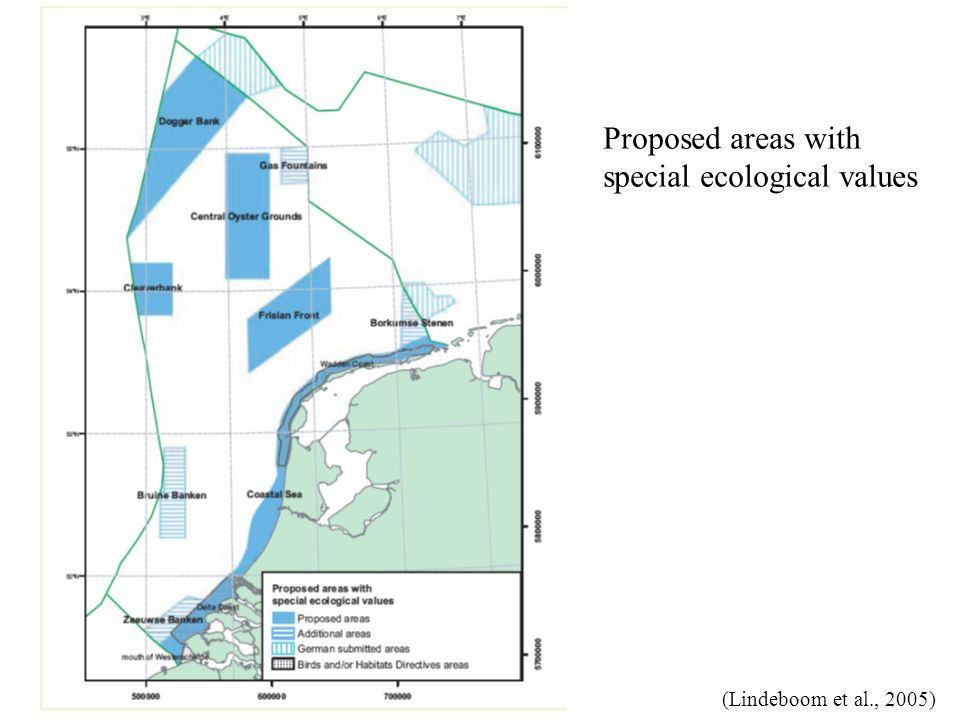 Proposed areas with special ecological values (Lindeboom et al., 2005)