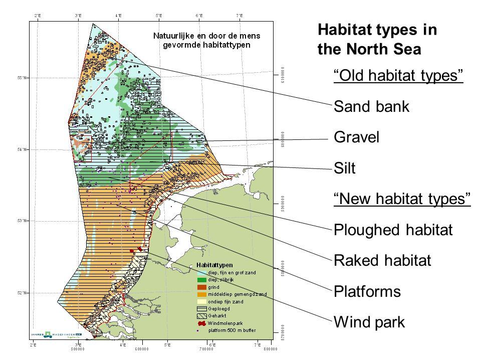 """Old habitat types"" Sand bank Gravel Silt ""New habitat types"" Ploughed habitat Raked habitat Platforms Wind park Habitat types in the North Sea"