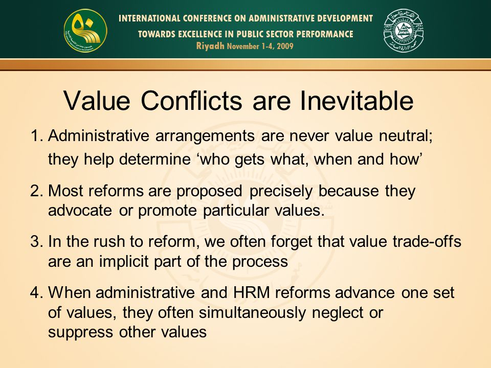 Value Conflicts are Inevitable 1.