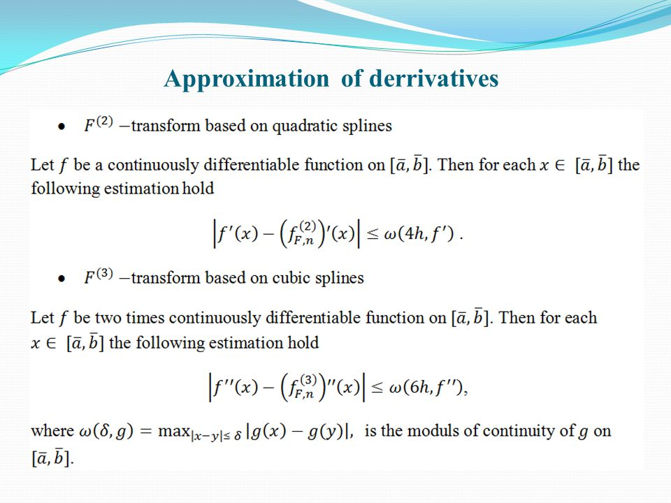 Approximation of derrivatives