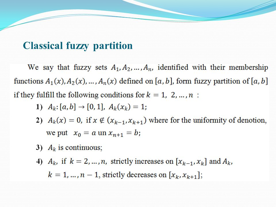 Classical fuzzy partition