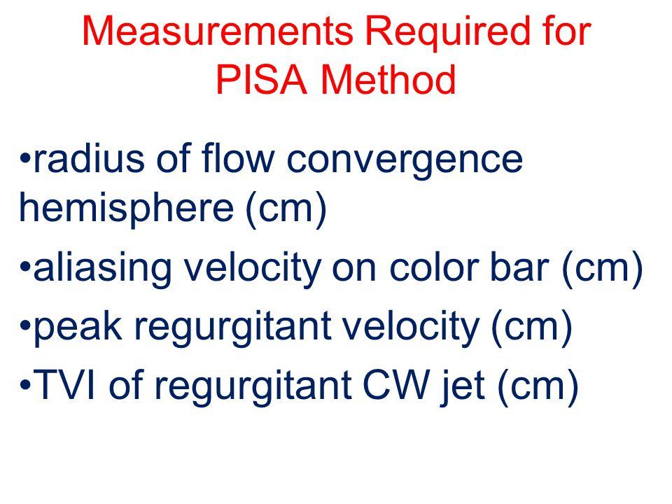 Measurements Required for PISA Method radius of flow convergence hemisphere (cm) aliasing velocity on color bar (cm) peak regurgitant velocity (cm) TV