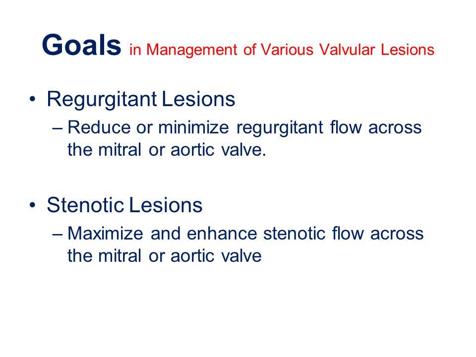 Goals in Management of Various Valvular Lesions Regurgitant Lesions –Reduce or minimize regurgitant flow across the mitral or aortic valve. Stenotic L