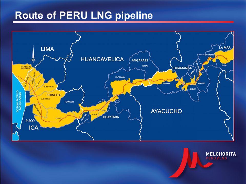 JungleHighlandsCoast 32 24 18 ENTRY TO THE CITY OF LIMA PERU LNG'S MELCHORITA PLANT 34 Compression at Malvinas Existing Camisea gas pipeline Built by PERU LNG Compression at Chiquintirca 24 Gas pipeline description PERU LNG's gas pipeline : Pipeline route: from Chiquintirca (Ayacucho) to the Melchorita Plant.