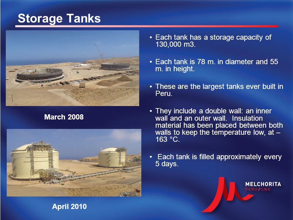 Storage Tanks March 2008 April 2010 Each tank has a storage capacity of 130,000 m3. Each tank is 78 m. in diameter and 55 m. in height. These are the