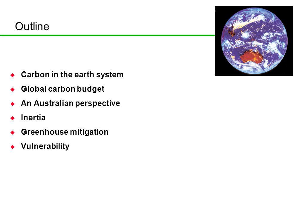 Outline u Carbon in the earth system u Global carbon budget u An Australian perspective u Inertia u Greenhouse mitigation u Vulnerability