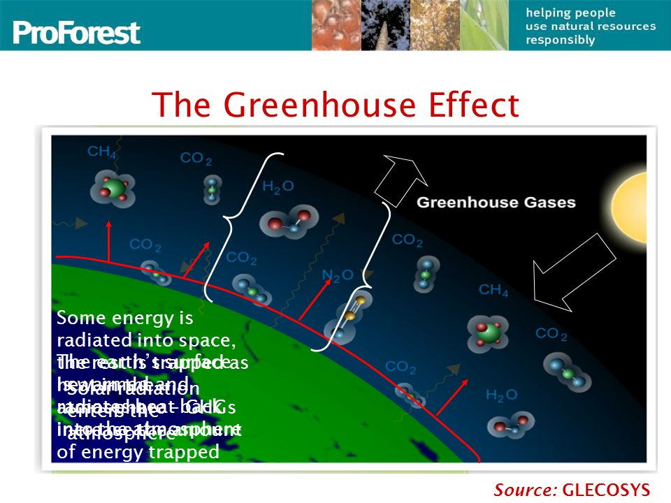 The Greenhouse Effect Source: GLECOSYS Solar radiation enters the atmosphere The earth's surface is warmed and radiates heat back into the atmosphere Some energy is radiated into space, the rest is trapped as heat in the atmosphere – GHGs increase the amount of energy trapped