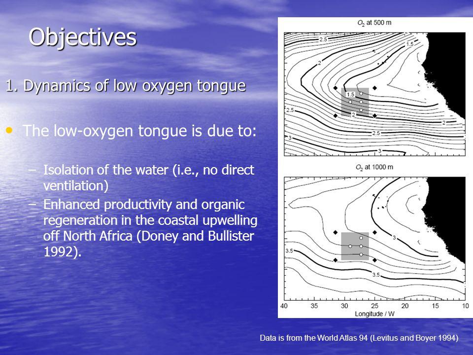 Objectives 1. Dynamics of low oxygen tongue The low-oxygen tongue is due to: – –Isolation of the water (i.e., no direct ventilation) – –Enhanced produ