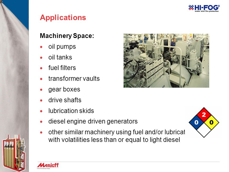 Applications Machinery Space:  oil pumps  oil tanks  fuel filters  transformer vaults  gear boxes  drive shafts  lubrication skids  diesel engine driven generators  other similar machinery using fuel and/or lubrication fluids with volatilities less than or equal to light diesel