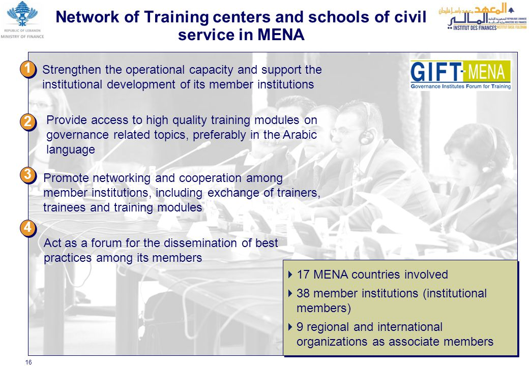 16 Network of Training centers and schools of civil service in MENA Strengthen the operational capacity and support the institutional development of its member institutions Provide access to high quality training modules on governance related topics, preferably in the Arabic language Promote networking and cooperation among member institutions, including exchange of trainers, trainees and training modules 1 1 2 2 3 3 4 4 Act as a forum for the dissemination of best practices among its members  17 MENA countries involved  38 member institutions (institutional members)  9 regional and international organizations as associate members  17 MENA countries involved  38 member institutions (institutional members)  9 regional and international organizations as associate members