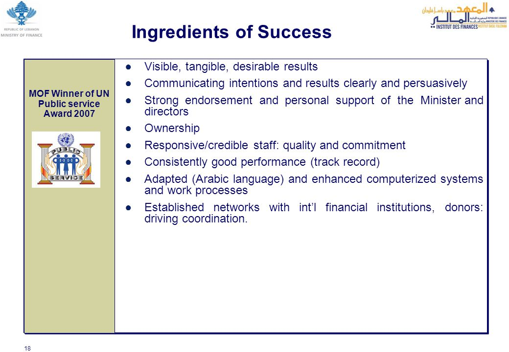 18 Ingredients of Success ●Visible, tangible, desirable results ●Communicating intentions and results clearly and persuasively ●Strong endorsement and personal support of the Minister and directors ●Ownership ●Responsive/credible staff: quality and commitment ●Consistently good performance (track record) ●Adapted (Arabic language) and enhanced computerized systems and work processes ●Established networks with int'l financial institutions, donors: driving coordination.
