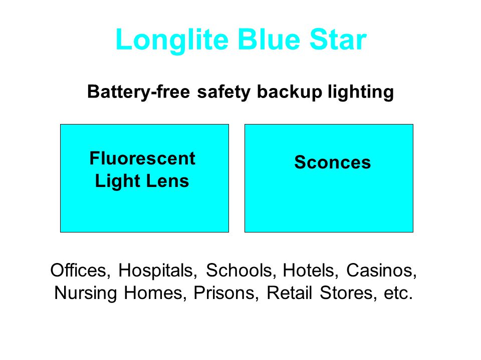 Battery-free safety backup lighting Fluorescent Light Lens Sconces Offices, Hospitals, Schools, Hotels, Casinos, Nursing Homes, Prisons, Retail Stores, etc.