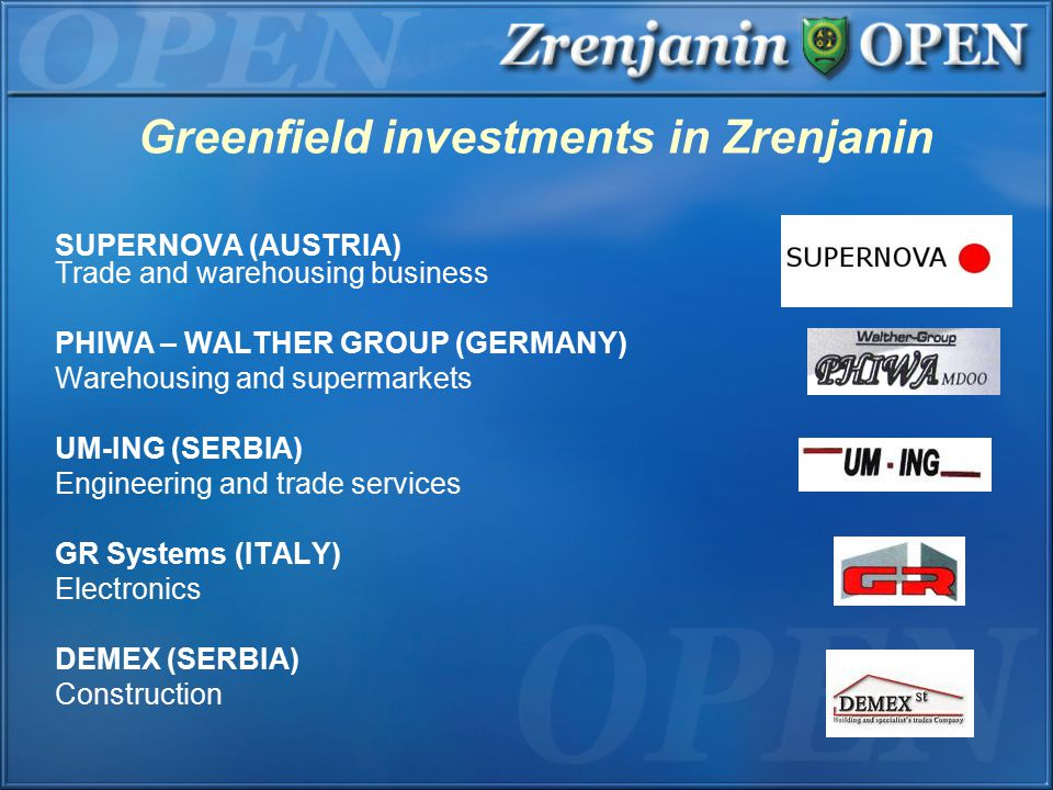 Greenfield investments in Zrenjanin SUPERNOVA (AUSTRIA) Trade and warehousing business PHIWA – WALTHER GROUP (GERMANY) Warehousing and supermarkets UM-ING (SERBIA) Engineering and trade services GR Systems (ITALY) Electronics DEMEX (SERBIA) Construction