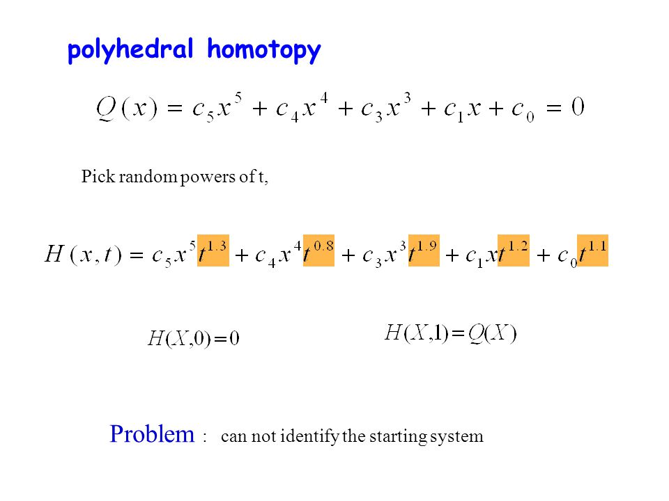 polyhedral homotopy Pick random powers of t, Problem : can not identify the starting system