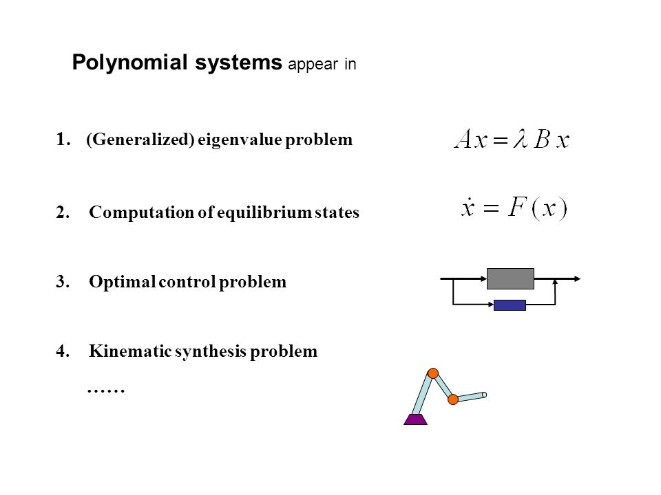 1. (Generalized) eigenvalue problem 2.Computation of equilibrium states 3.Optimal control problem 4.Kinematic synthesis problem …… Polynomial systems