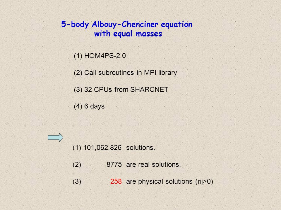 5-body Albouy-Chenciner equation with equal masses (1)HOM4PS-2.0 (2)Call subroutines in MPI library (3)32 CPUs from SHARCNET (4)6 days (1)101,062,826 solutions.