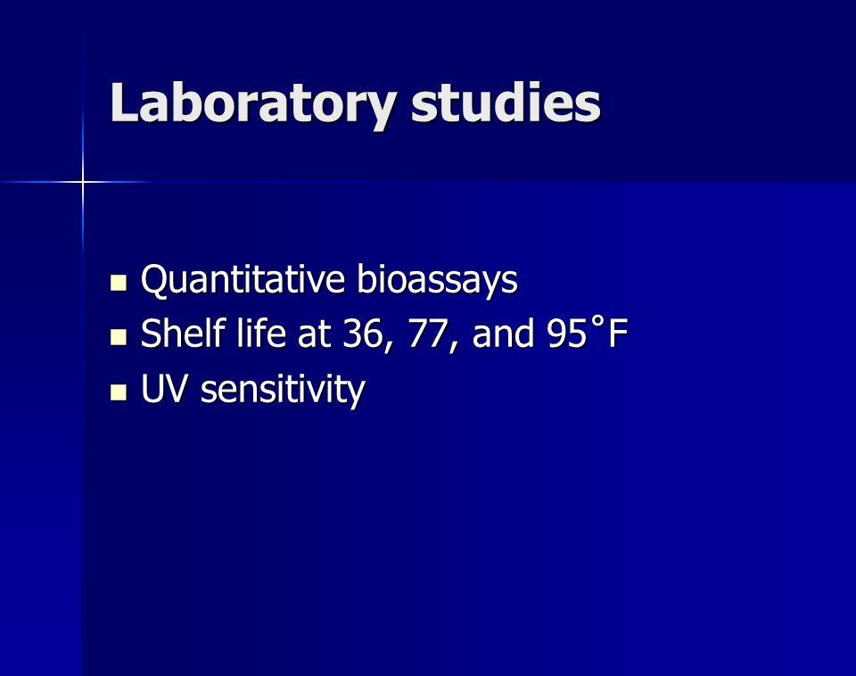 Laboratory studies Quantitative bioassays Quantitative bioassays Shelf life at 36, 77, and 95˚F Shelf life at 36, 77, and 95˚F UV sensitivity UV sensi