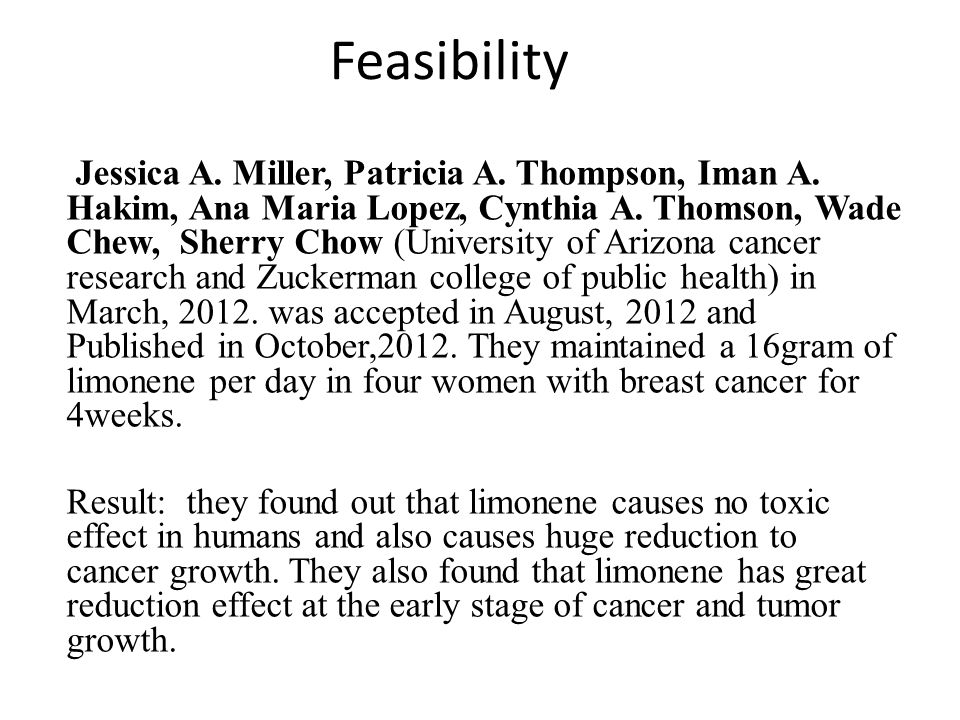 Feasibility Jessica A. Miller, Patricia A. Thompson, Iman A.