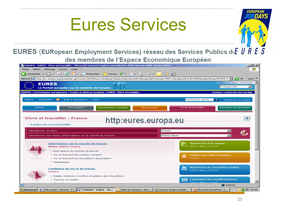 23 Eures Services EURES ( EURopean Employment Services) réseau des Services Publics de l'emploi des membres de l'Espace Economique Européen http:eures.europa.eu