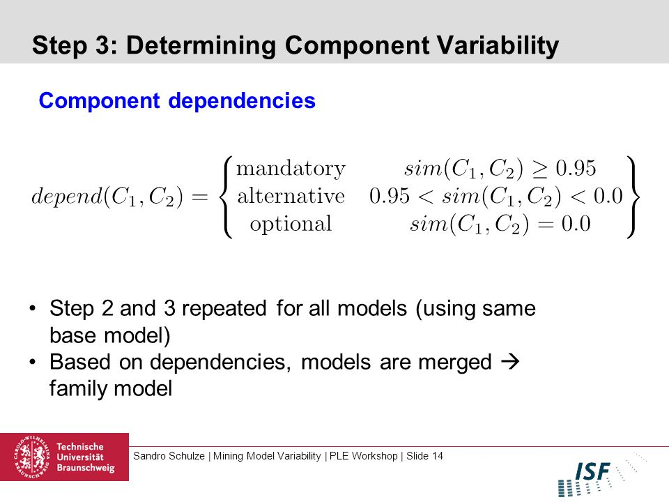Sandro Schulze | Mining Model Variability | PLE Workshop | Slide 14 Step 3: Determining Component Variability Component dependencies Step 2 and 3 repeated for all models (using same base model) Based on dependencies, models are merged  family model