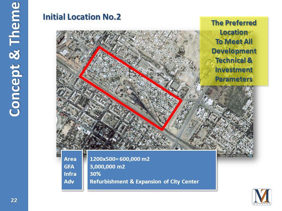 Concept & Theme 22 Initial Location No.2 Area GFA Infra Adv Area GFA Infra Adv 1200x500= 600,000 m2 3,000,000 m2 30% Refurbishment & Expansion of City Center 1200x500= 600,000 m2 3,000,000 m2 30% Refurbishment & Expansion of City Center The Preferred Location To Meet All Development Technical & InvestmentParameters The Preferred Location To Meet All Development Technical & InvestmentParameters