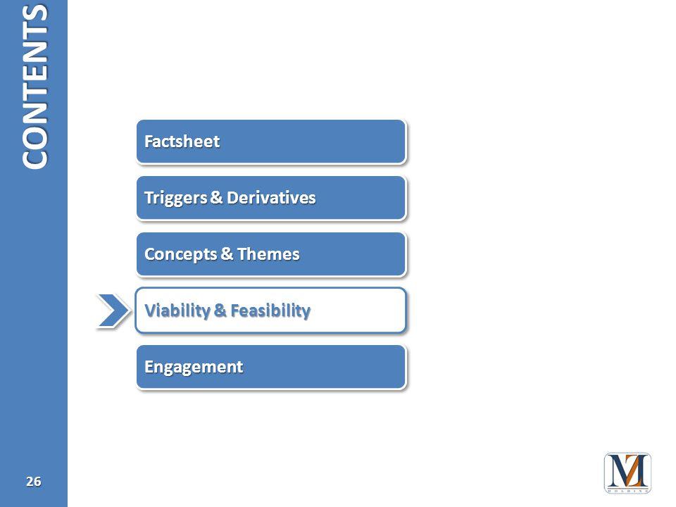 CONTENTS26 FactsheetFactsheet EngagementEngagement Viability & Feasibility Concepts & Themes Triggers & Derivatives