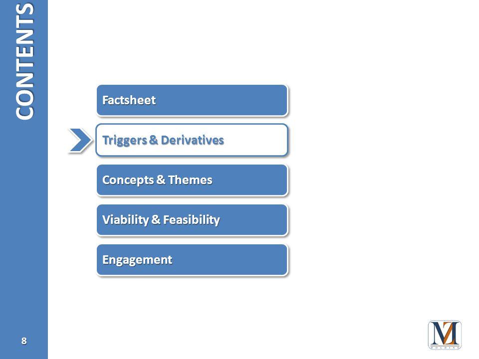 CONTENTS8 Triggers & Derivatives EngagementEngagement Viability & Feasibility Concepts & Themes FactsheetFactsheet