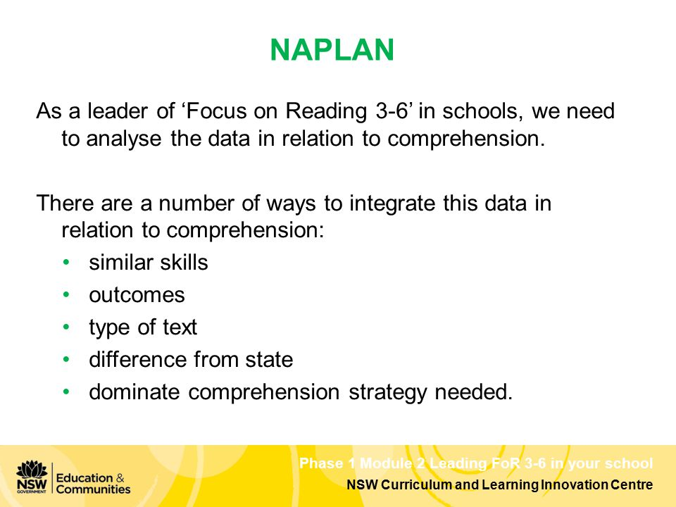 NSW Curriculum and Learning Innovation Centre Phase 1 Module 2 Leading FoR 3-6 in your school As a leader of 'Focus on Reading 3-6' in schools, we need to analyse the data in relation to comprehension.