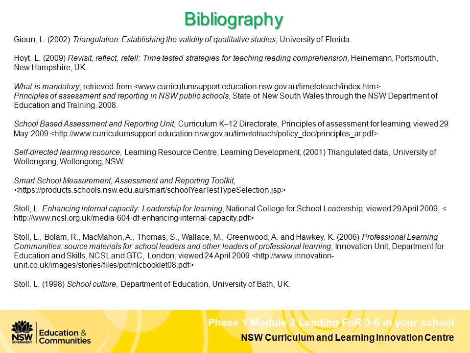 NSW Curriculum and Learning Innovation Centre Phase 1 Module 2 Leading FoR 3-6 in your school Bibliography Gioun, L. (2002) Triangulation: Establishin