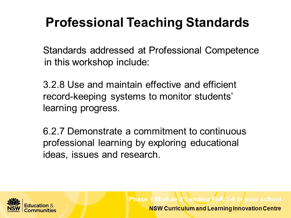NSW Curriculum and Learning Innovation Centre Phase 1 Module 2 Leading FoR 3-6 in your school Professional Teaching Standards 3.2.8 Use and maintain e