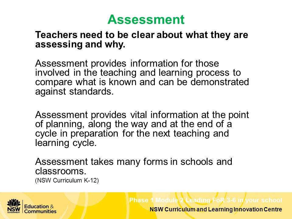 NSW Curriculum and Learning Innovation Centre Phase 1 Module 2 Leading FoR 3-6 in your school Teachers need to be clear about what they are assessing and why.