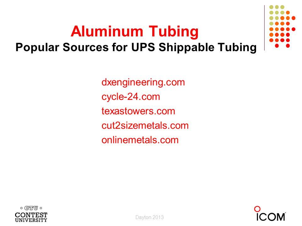 dxengineering.com cycle-24.com texastowers.com cut2sizemetals.com onlinemetals.com Aluminum Tubing Popular Sources for UPS Shippable Tubing Dayton 2013