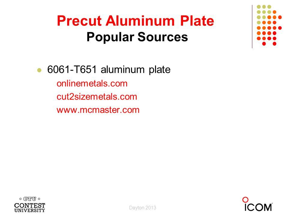 6061-T651 aluminum plate onlinemetals.com cut2sizemetals.com www.mcmaster.com Precut Aluminum Plate Popular Sources Dayton 2013