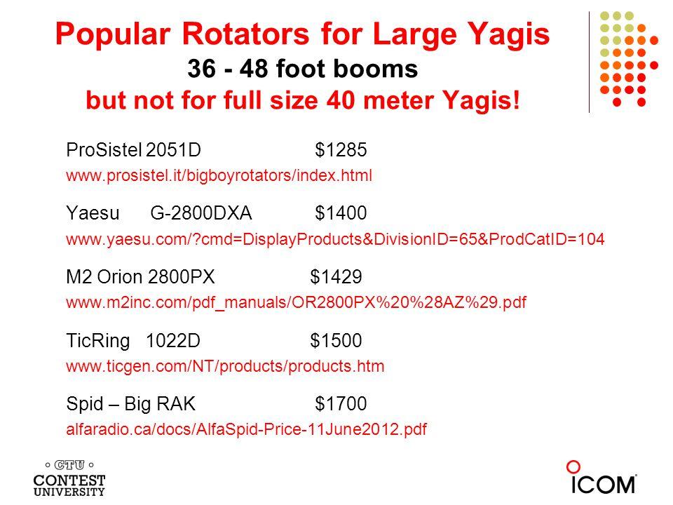 Popular Rotators for Large Yagis 36 - 48 foot booms but not for full size 40 meter Yagis.