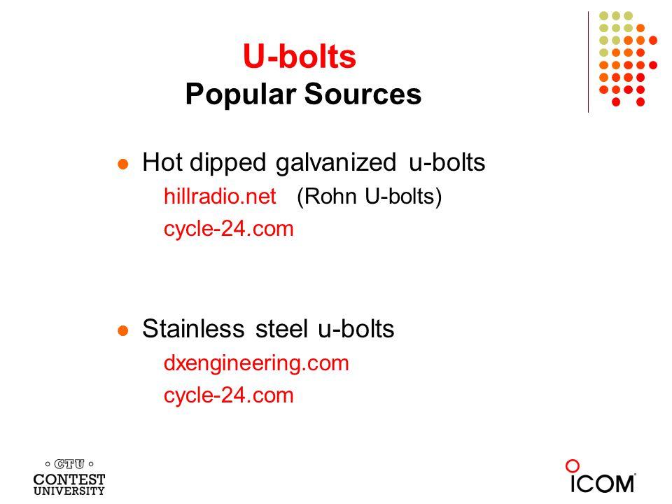 U-bolts Popular Sources Hot dipped galvanized u-bolts hillradio.net (Rohn U-bolts) cycle-24.com Stainless steel u-bolts dxengineering.com cycle-24.com