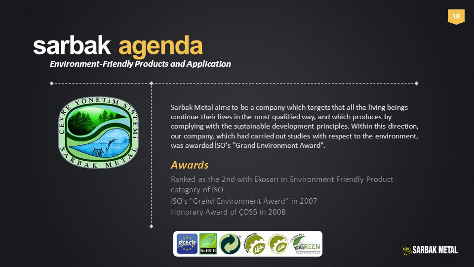 sarbak agenda Environment-Friendly Products and Application 10 Sarbak Metal aims to be a company which targets that all the living beings continue their lives in the most qualified way, and which produces by complying with the sustainable development principles.