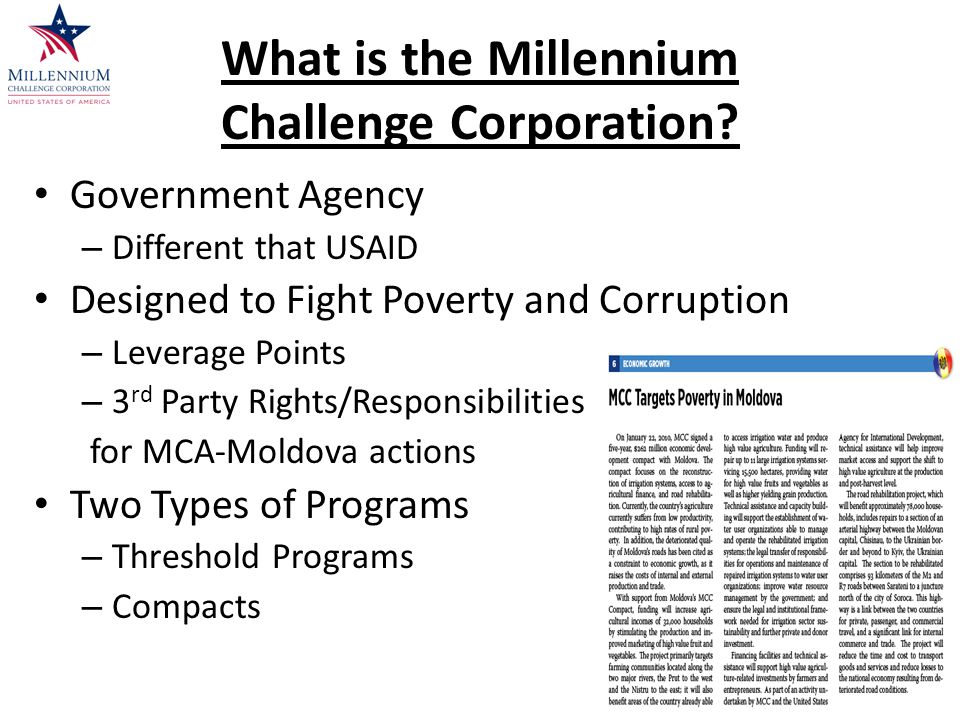 What is the Millennium Challenge Corporation.