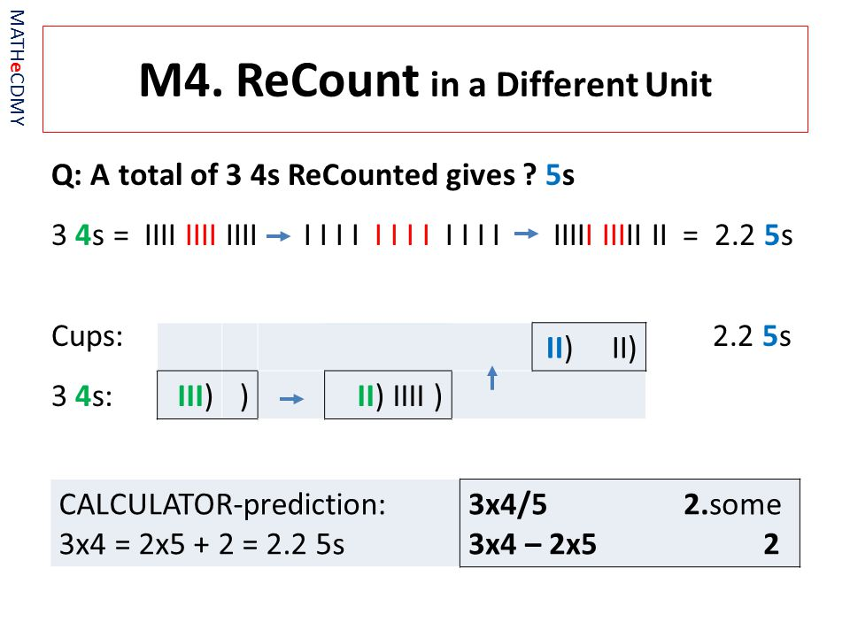 M4. ReCount in a Different Unit Q: A total of 3 4s ReCounted gives .