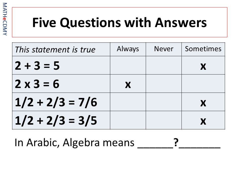 Five Questions with Answers In Arabic, Algebra means ______ _______ MATHeCDMY This statement is true AlwaysNeverSometimes 2 + 3 = 5x 2 x 3 = 6x 1/2 + 2/3 = 7/6x 1/2 + 2/3 = 3/5x
